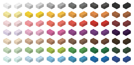 Childrens toy brick simple bricks 3x2 high, isolated on white background