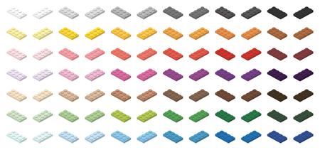 Children bricks toy small bricks 4x2 low, isolated on white background