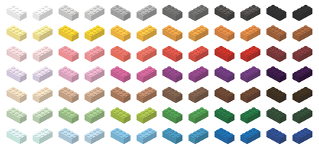 Childrens toy brick simple bricks 4x2 high, isolated on white background