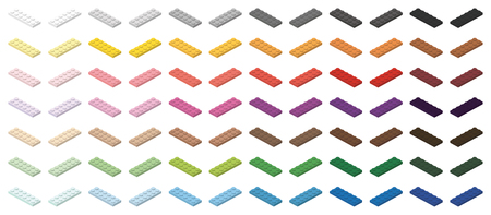 Children bricks toy small colorful bricks 6x2 low, isolated on white background