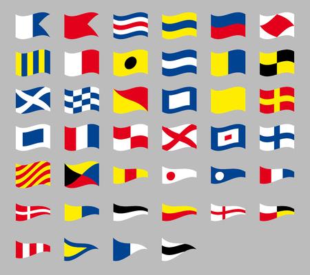 International maritime signal nautical flags, isolated on gray background Stock Illustratie