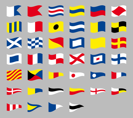 International maritime signal nautical flags, isolated on gray background 矢量图像