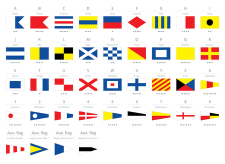 International maritime signal nautical flags, isolated on white background Çizim