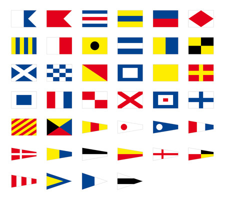 International maritime signal nautical flags, isolated on white background Stock Illustratie