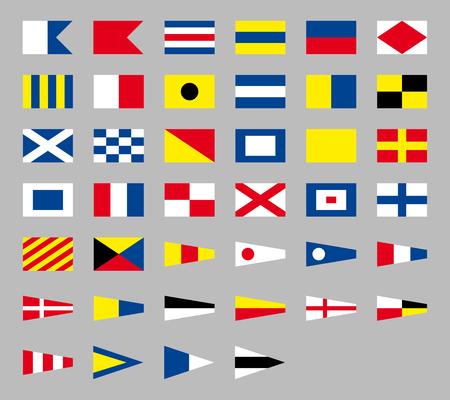 International maritime signal nautical flags, isolated on gray background Illustration