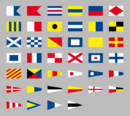 International maritime signal nautical flags, isolated on gray background Illustration