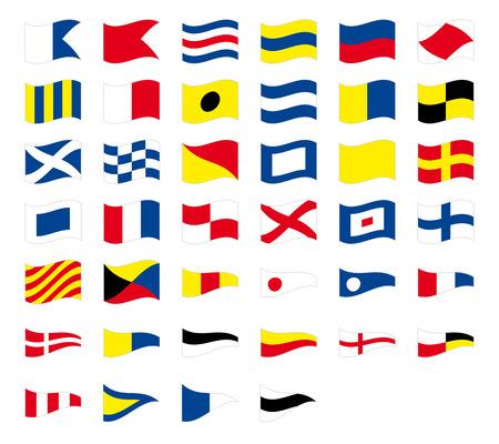International maritime signal nautical flags, isolated on white background Illustration