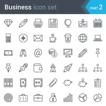 Modern, simple and thin business icon set isolated on white background