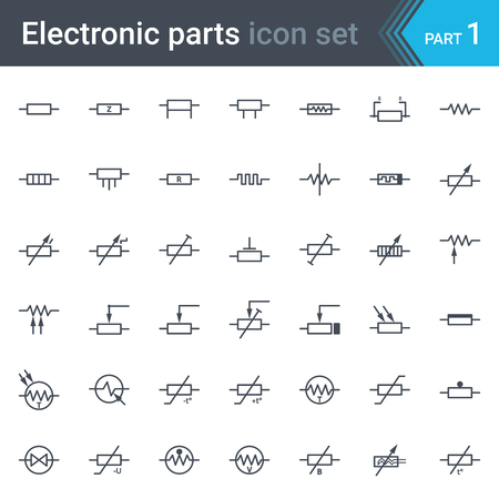 Complete set of electric and electronic circuit diagrams symbols and elements - resistors