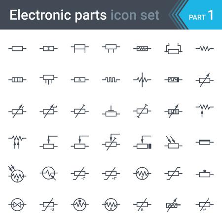 Ensemble complet de schémas de circuits électriques et électroniques symboles et éléments - résistances