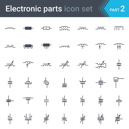 Complete vector set of electronic and electronic circuit diagrams symbols and elements-inductors, coils, capacitors and electric condensers