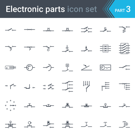 potentiometer: Complete vector set of electric and electronic circuit diagram symbols and elements - switches, pushbuttons and circuit switches Illustration