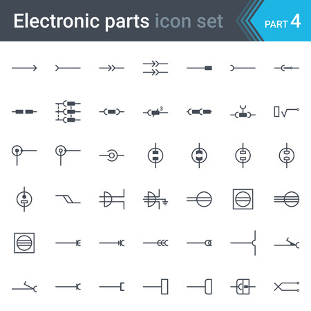 Complete set of electronic and electronic circuit diagrams and symbols - electrical connectors, sockets, plugs and jack