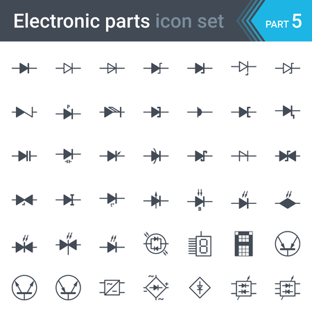 potentiometer: Complete set of electric and electronic circuit diagrams symbols and elements - diodes and bridge rectifier Illustration