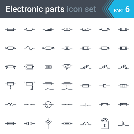 Complete set of electric and electronic circuit diagrams symbols and elements - fuses and electrical protection symbols