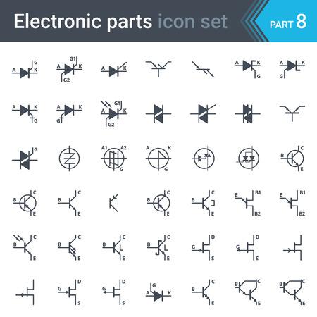 Complete set of electric and electronic circuit diagrams symbols and elements - thyristors, triacs, diacs and transistors