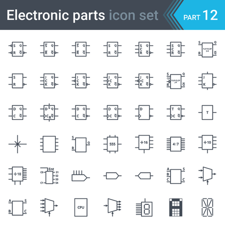 Vector set of electronic and electronic circuit diagrams symbols and elements - digital electronics, flip-flop, logic circuit, display, programming conventions Illustration