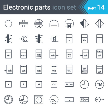 Electric and electronic circuit diagram symbols of meters, recorders, counters, integrators, registrars, clocks and timers