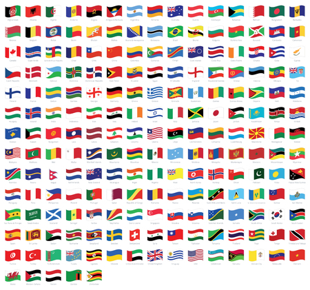 All national waving flags with names - high quality vector flag isolated on white background