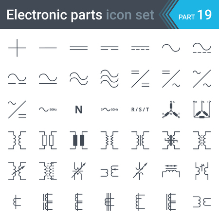 Complete vector set of electric and electronic circuit diagram symbols and elements - current, three-phase connections and electrical transformers Illustration