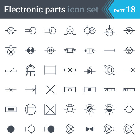 Complete vector set of electric and electronic circuit diagram symbols and elements - lighting