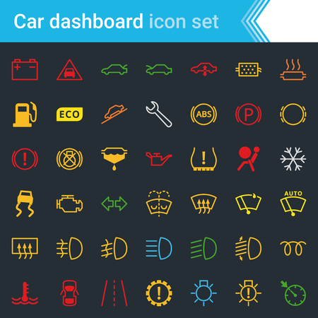 Colorful car dashboard interface and indicators icon set - service maintenance vector symbols. Vettoriali