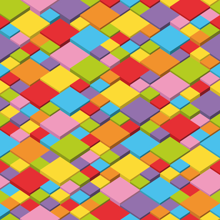 Colorful isometric seamless pattern. Random cubes puzzle vector background
