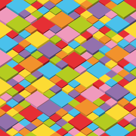 Abstract vector background with multi-colored cubes, seamless and repeatable pattern Ilustrace
