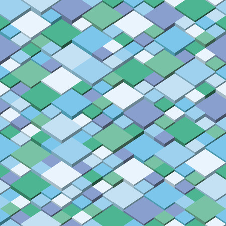 Vector cube geometric background - seamless and repeatable pattern. Winter colors Çizim
