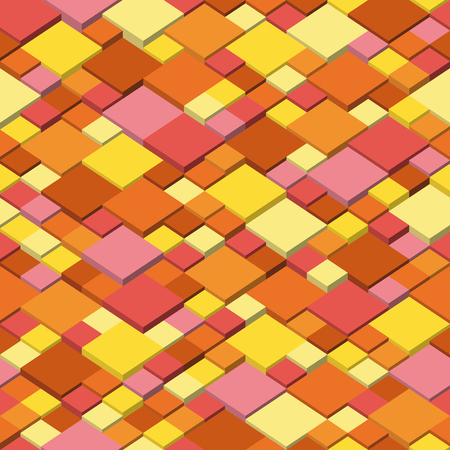 Vector background. Seamless illustration of abstract texture with squares. Autumn colors pattern design Ilustrace