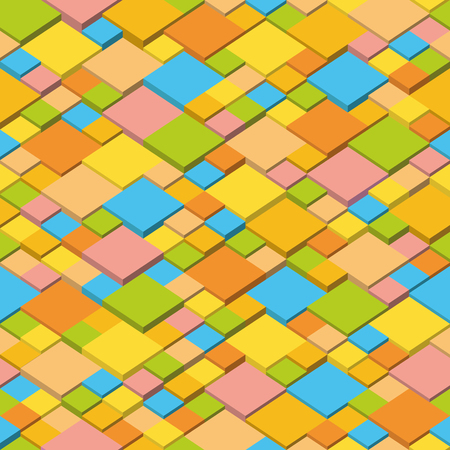 Abstract geometric seamless background, cubic mosaic structure. Summer colors isometric pattern