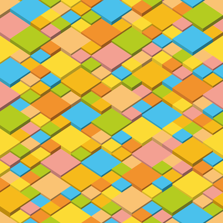 Summer   Abstract vector background of isometric cubes. Geometric squares in summer colors