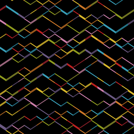 Seamless isometric cubes pattern. Black abstract geometric square shapes