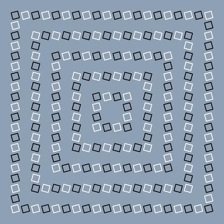 Unreal and hypnotic optical illusion. Creative trick and nystagmus vector illustration. Ilustração