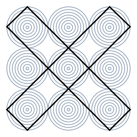 Graphic fiction and visual paradox. Hypnotic optical illusion. Different magical shapes to deceive brain. Print pattern or wallpaper. Ilustração