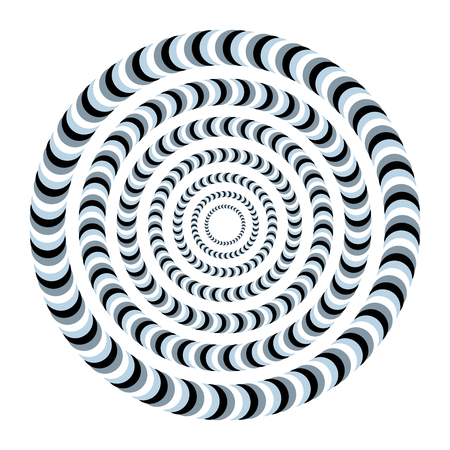 Unreal and hypnotic optical illusion. Creative trick and nystagmus vector illustration. Illustration