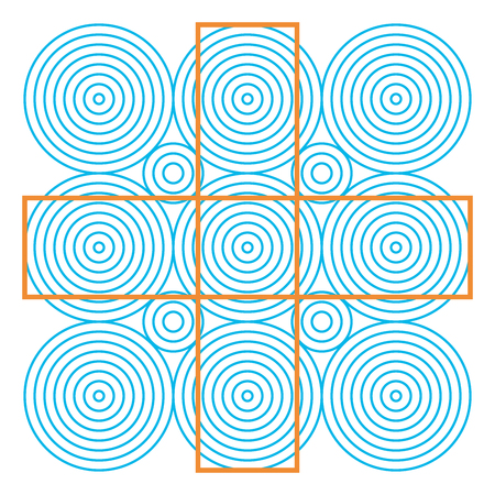 Optical illusion, colorful blocks, different shapes