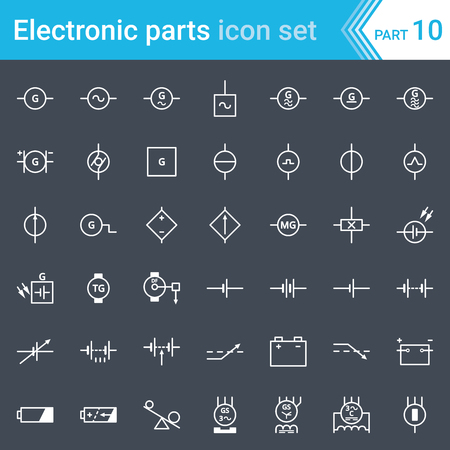 Electric and electronic icons, electric diagram symbols. Generator, batteries, DC power supplies and three-phase generator.