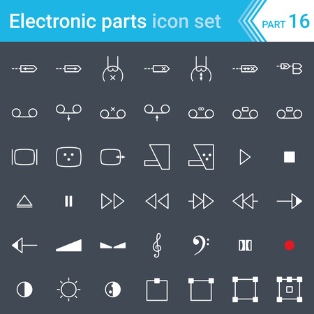 Electric and electronic icons, electric diagram symbols. Audio and video devices, function control audio and video, sound representation. Çizim