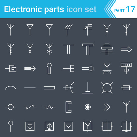 Electric and electronic icons, electric diagram symbols. Antennas, aerials, waveguides, tv and radio distribution.