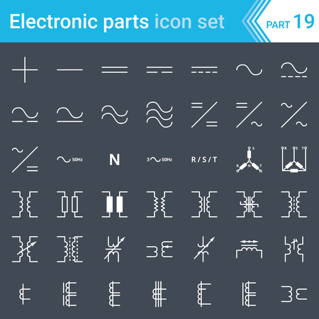 Electric and electronic icons, electric diagram symbols. Current, three-phase connections and electrical transformers. 일러스트
