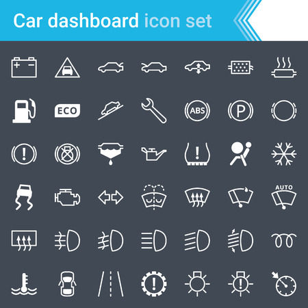 Modern, stroked car dashboard, icons and service icons isolated on dark background.