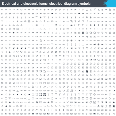 Electrical and electronic icons, electrical diagram symbols. Circuit diagram elements. Stoke icons isolated on white background.