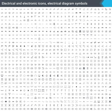 Iconos eléctricos y electrónicos, símbolos de diagrama eléctrico. Elementos del diagrama de circuito. Stoke iconos aislados sobre fondo blanco. Ilustración de vector