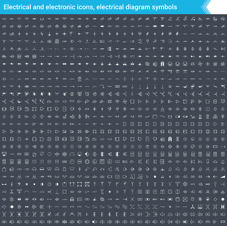 Electrical and electronic icons, electrical diagram symbols. Circuit diagram elements. Stoke vector icons isolated on dark background.