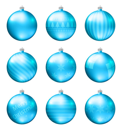 Light blue christmas balls isolated on white background. Photorealistic high quality vector set of christmas baubles.