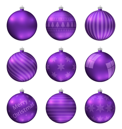 Violet christmas balls isolated on white background. Photorealistic high quality vector set of christmas baubles.