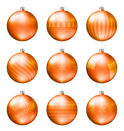 Orange christmas balls isolated on white background. Photorealistic high quality vector set of christmas baubles.