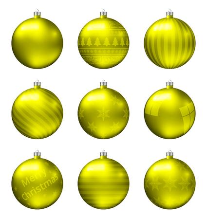 Gele kerstballen geïsoleerd op een witte achtergrond. Fotorealistische hoge kwaliteit vector set kerstballen. Vector Illustratie