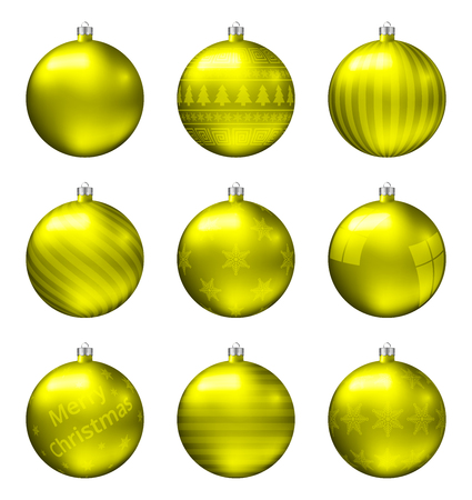 Yellow christmas balls isolated on white background. Photorealistic high quality vector set of christmas baubles.